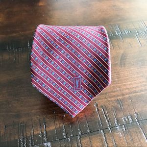Yves Saint Laurent Red and Blue Pattern Silk Tie